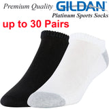 Gildan Platinum Sports Casual Tennis Socks No Show Size 6 7 8 9 10 11 12 Men Black Grey/White