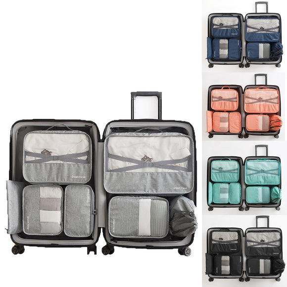 IPRee 7Pcs Travel Pouch Clothes Packing Storage Bags Suitcase Luggage Organiser