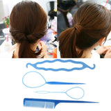 Women Hair Twist Styling Clip Stick Band Comb Donut Bun Maker Accessories Tool