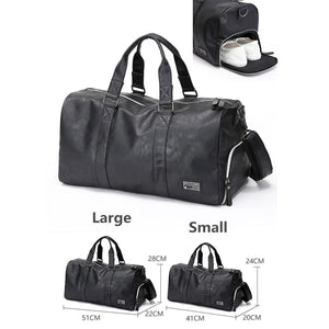 Leather Travel Sport Gym Shoulder Handbag Shoes Organizer Duffle Storage Bag