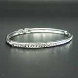 14k white Gold plated with Swarovski crystals brilliant bangle bracelet