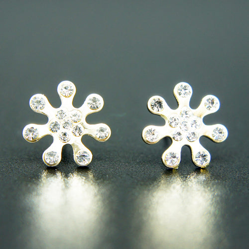 14k Gold plated stars petal with Swarovski crystals elements stud earrings