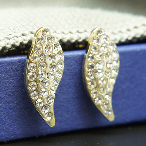 14k Gold plated with Swarovski crystals curved beaded brilliant earrings