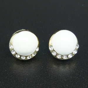 14k Gold plated with Swarovski crystals white enamel round elegant earrings
