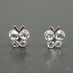 14k white Gold plated butterfly with Swarovski crystals stud earrings