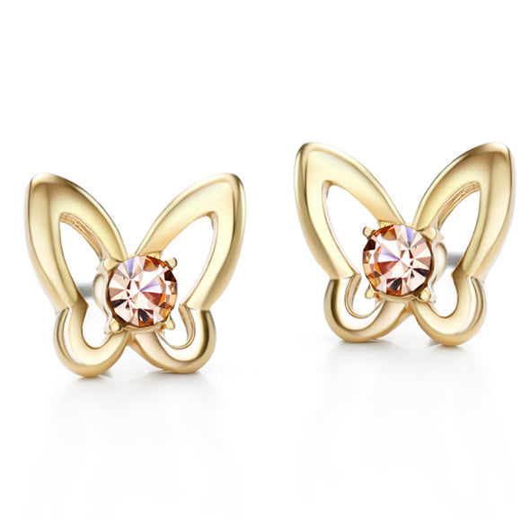 14k Yellow Gold plated Czech Rhinestone Crystals Butterfly Stud Earrings
