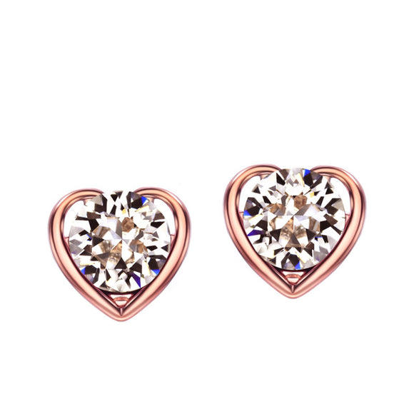 14k Rose Gold plated Auden Rhinestone Diamond cut Crystals Love Heart Earrings