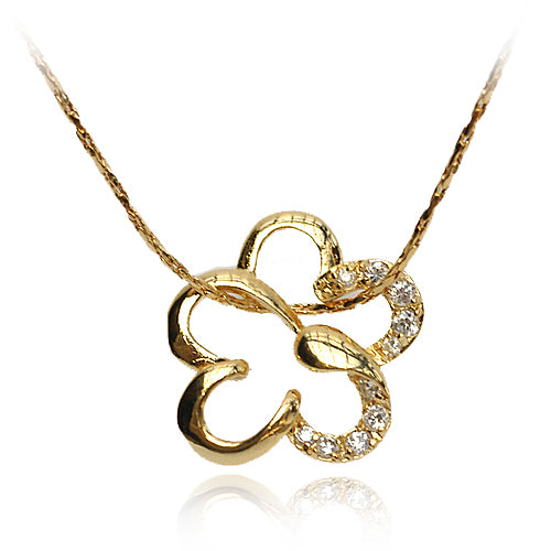 18k Gold GF flower with Swarovski crystals pendant necklace