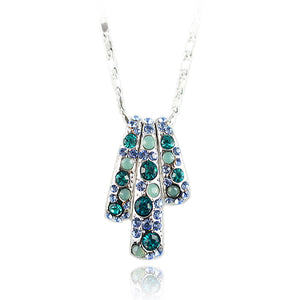 14k white Gold plated with Swarovski crystals brilliant blue pendant necklace