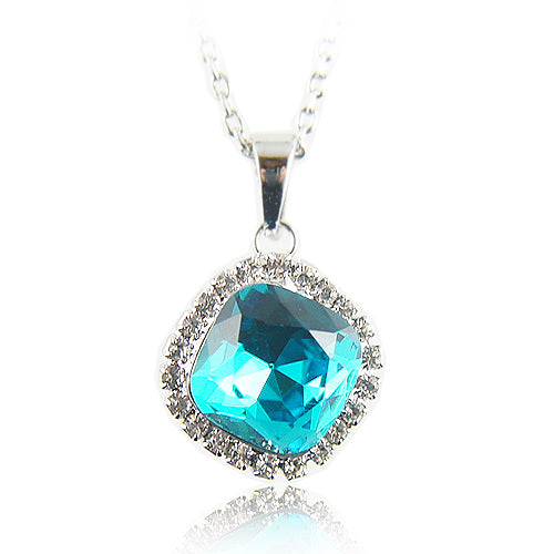 18k white Gold plated with Swarovski crystals Diamond cut blue pendant necklace