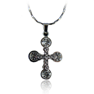14k white Gold GF with Swarovski crystals brilliant cross pendant necklace