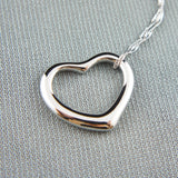 14k white Gold plated love heart classy pendant necklace
