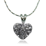 18k white Gold plated heart love with Swarovski crystals charm pendant necklace