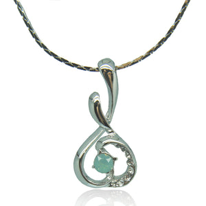 14k white Gold plated with Swarovski crystals melody classy pendant necklace