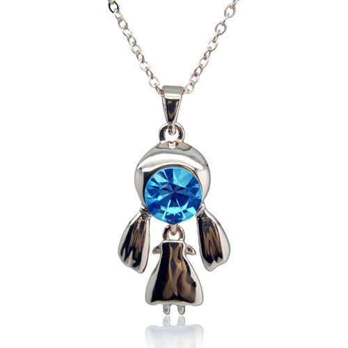 14k white Gold plated Diamond simulant blue eye girl pendant necklace