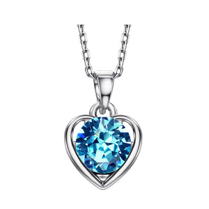 14k white Gold plated Auden Diamond cut Rhinestone Love Heart pendant necklace