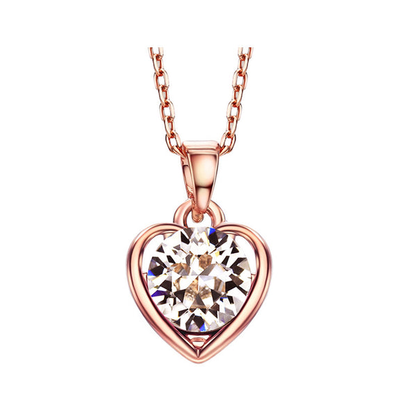 14k Rose Gold plated Auden Diamond cut Rhinestone Love Heart pendant necklace