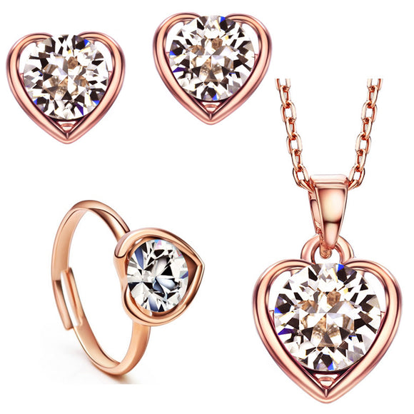 14k Gold plt Auden Diamond cut Crystal Love Heart Ring Earrings Necklace Set