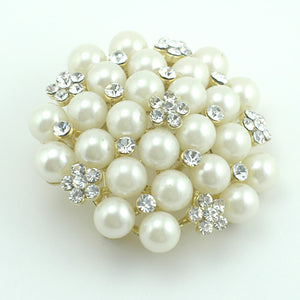 14k yellow Gold plated with Swarovski elements crystals white pearls brooch pin