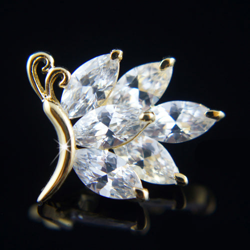 18k Gold plated Diamond simulant butterfly brooch pin