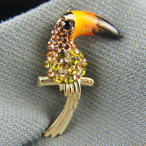 14k Gold plated with Swarovski crystals toucan bird brilliant brooch pin