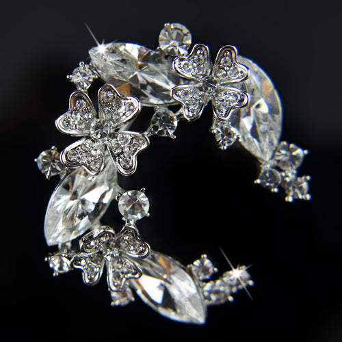 18k white Gold GF Diamond simulant wth Swarovski crystals solid brooch pin