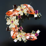 18k Gold GF Diamond simulant with Swarovski crystals brooch pin