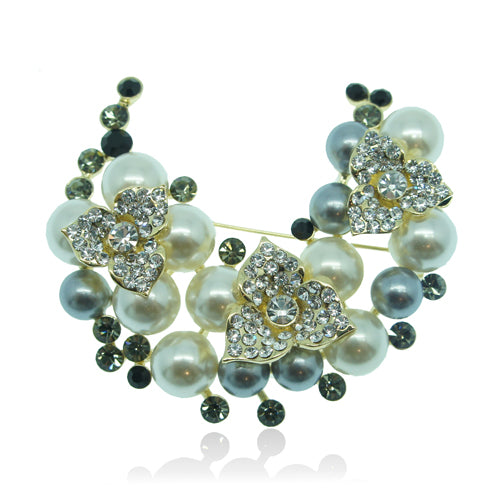 14k Gold GF with Swarovski crystals pearls vintage brooch pin