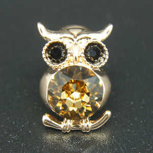 80136faf494 14k Gold plated Diamond with Swarovski crystals golden owl brooch pin