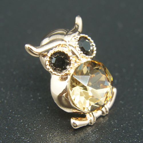 4dca24ff649 ... 14k Gold plated Diamond with Swarovski crystals golden owl brooch pin  ...