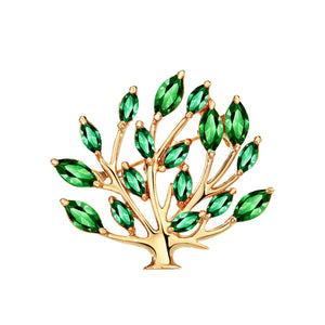 14k Rose Gold plated Tree Leaf with CZ Zircon Green Crystals brooch pin