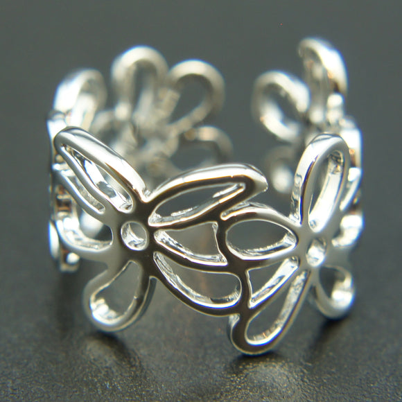 14k white Gold plated vintage filigree flowers ring Adjustable size 5 6 7 8 9 10