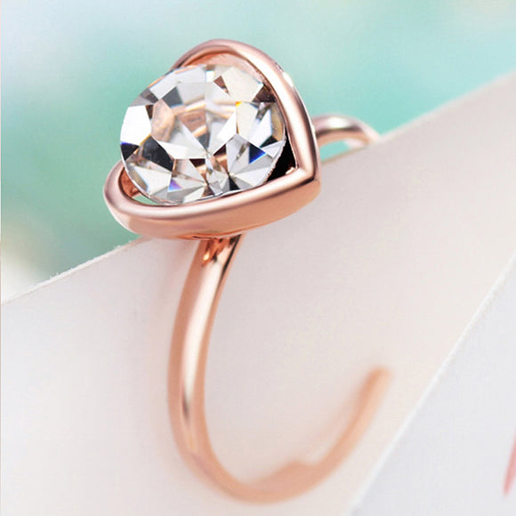 14k Rose Gold plt Auden Crystal Love Heart Ring Adjustable size 5 6 7 8 9 10