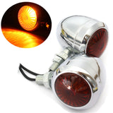 x2 Motorcycle Silver Bullet Turn Signal Indicator Light Harley Chopper Bobber