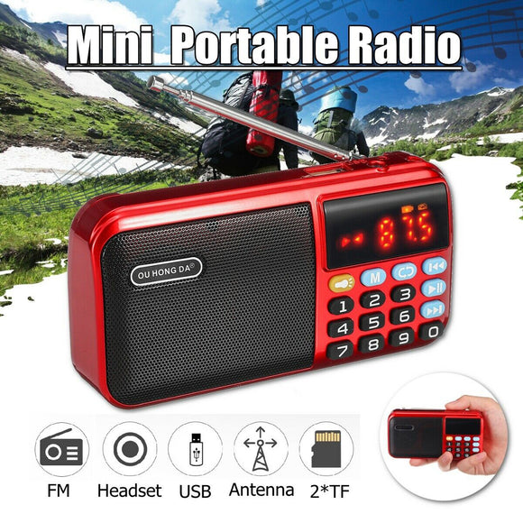 Portable Mini FM Digital TF USB MP3 Music Player Stereo Speaker Battery Radio