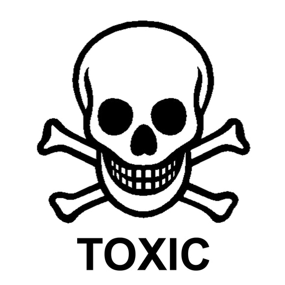 TOXIC SKELETON SKULL Large shipping label adhesive warning mailing sticky sticker 61x49mm