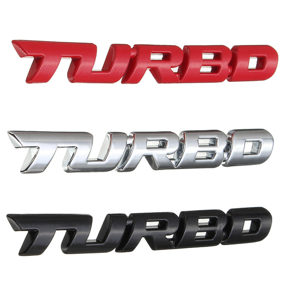 3D Turbo Metal Chrome Exterior Interior Motorcycle Car Auto Decal Badge Sticker