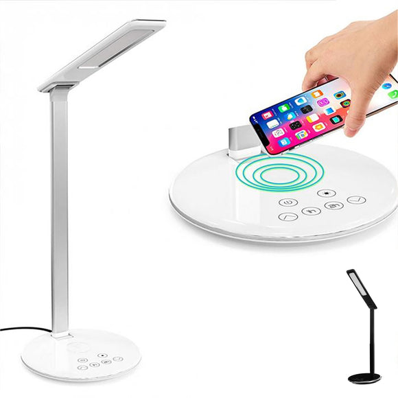 USB Table Desk Bedside Study Touch LED Lamp Light Wireless Qi Phone Charger Dock