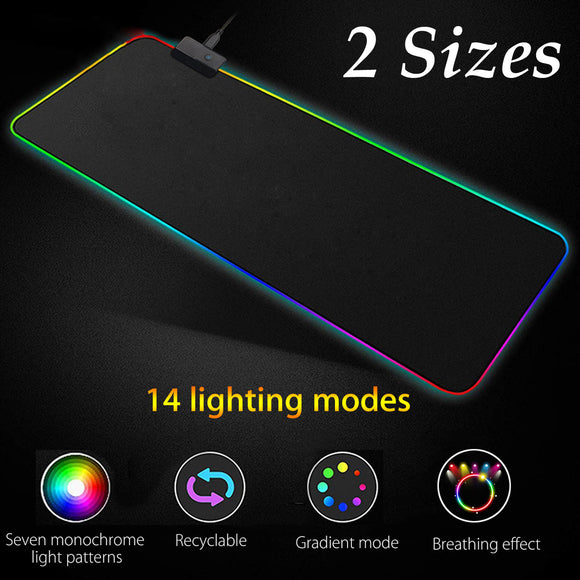 RGB LED USB Colourful Backlit Thick Anti-slip Rubber Gaming Desk Mat Mouse Pad