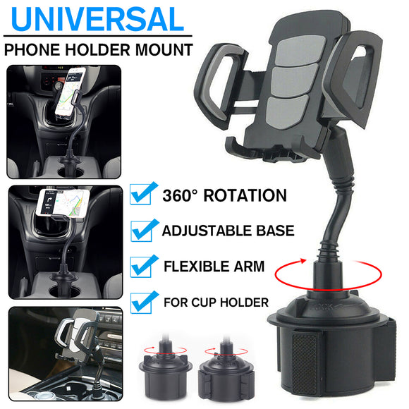 Universal 360° Adjustable Car Gooseneck Cup Mobile Phone Holder Mount Stand