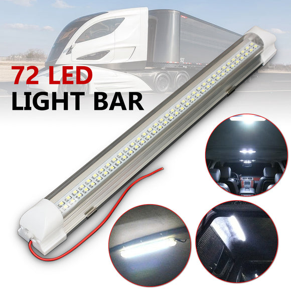 Universal Interior 34cm 72 LED White Light Bar Lamp ON/OFF Switch Caravan Bus