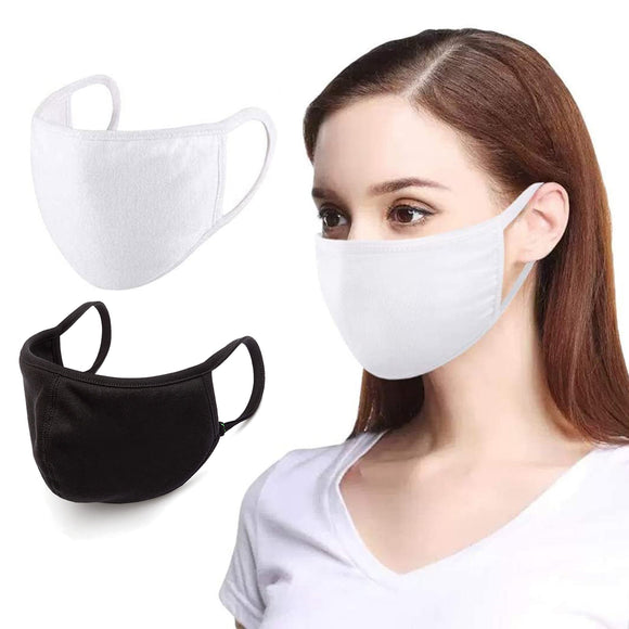 Washable Protective Reusable Cotton Anti Dust Pollution Unisex White Black Mouth Half Face Mask