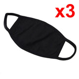 3pcs Washable Protective Reusable Cotton Anti Dust Black Mouth Half Face Mask