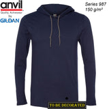ANVIL Gildan Navy Blue Hoodie Lightweight Long Sleeve Hooded T-SHIRT