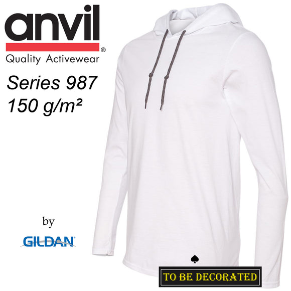 ANVIL Gildan White Hoodie Lightweight Long Sleeve Hooded T-SHIRT Men