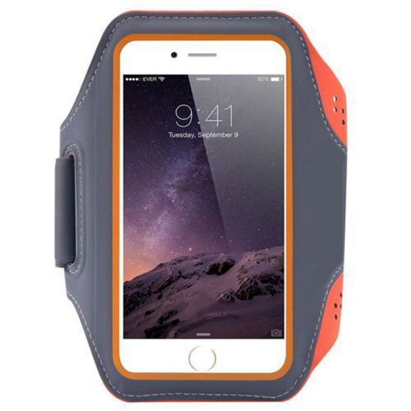 Universal Breathable Sports jogging running gym phone Armband arm strap < 6.5 inch Orange