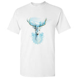 Blue Snow Deer Reindeer Moose Forrest Art White Men T Shirt Tee Top S - 5XL