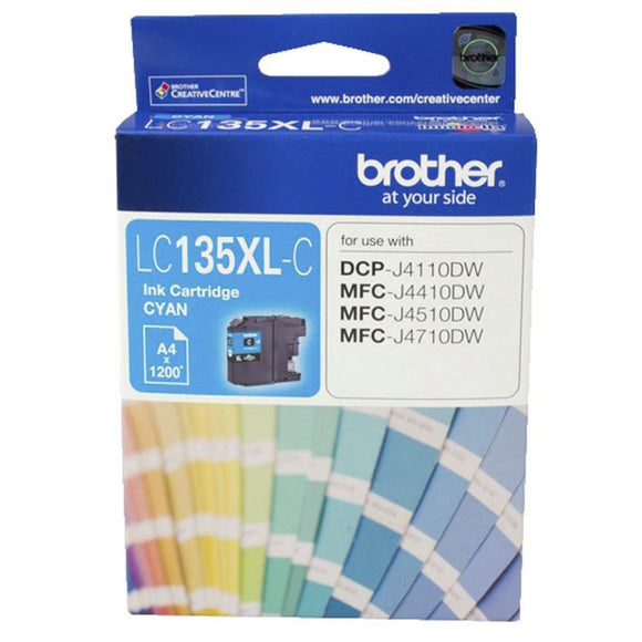 GENUINE Original Brother LC135XLC Cyan Ink Cartridge Toner LC135XL-C