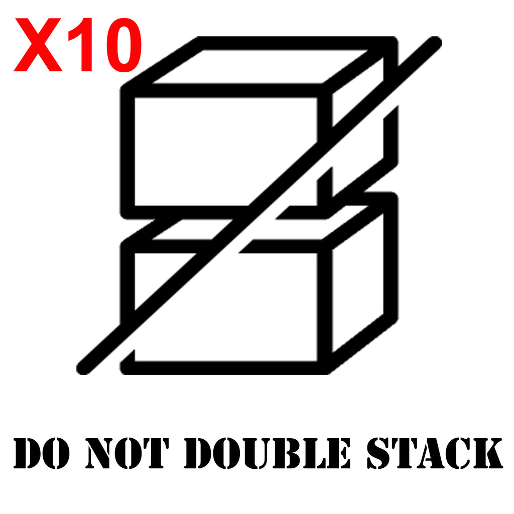 DO NOT DOUBLE STACK Large shipping label adhesive warning