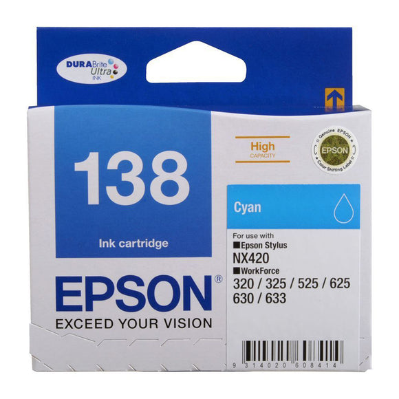 GENUINE Original Epson 138 Cyan Ink Cartridge Toner T138292 Stylus WorkForce
